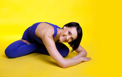 Happy woman prepare for yoga training Stock Photo