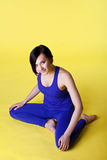 Happy woman prepare for yoga training Royalty Free Stock Photos
