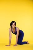 Happy woman prepare for yoga training Royalty Free Stock Image