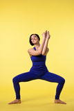 Happy woman prepare for yoga training Royalty Free Stock Photography