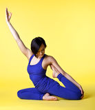 Happy woman prepare for yoga training Stock Photos
