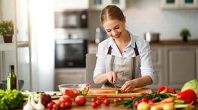 Happy woman preparing vegetable salad in kitchen royalty free stock images