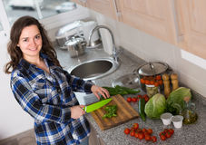 Happy woman preparing veggies at home. Happy smiling young brunette in casual preparing veggies at home  kitchen Stock Images