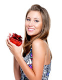 Happy woman with present Stock Image
