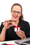 Happy woman with present box in hand Stock Image