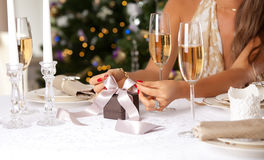 Happy Woman with present. Royalty Free Stock Photos