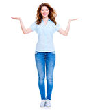 Happy woman with presentation gesture. Royalty Free Stock Photos