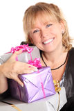 Happy woman with presents Royalty Free Stock Image