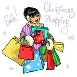 Happy woman with presents Royalty Free Stock Images