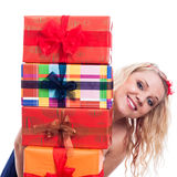 Happy woman with presents Royalty Free Stock Photos