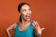 Happy woman with pretty appearance stock image