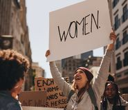 Free Happy Woman Protesting With Hand Written Sign Stock Photography - 118513922