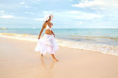 Happy woman on Punta Cana beach. Stock Photography