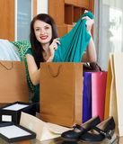 Happy woman with  purchases Stock Photography