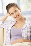 Happy woman in pyjama Royalty Free Stock Photos