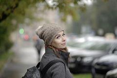 Happy Woman In Rainy Day Royalty Free Stock Images