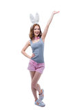 Happy woman with raised hand up Stock Photography