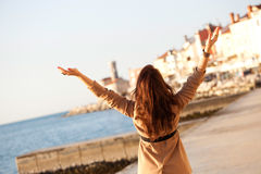 Happy Woman With Raised Hands Royalty Free Stock Image