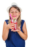 Happy woman with raspberry mint lemonade. Picture of a beautiful young woman holding a raspberry mint lemonade posing on isolated background on summertime Royalty Free Stock Image