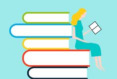 Happy woman reading on tower of books. Vector colorful illustration isolated on background Royalty Free Stock Photography