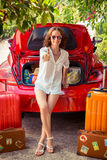 Happy woman ready to trip. Summer vacation and travel concept Stock Images
