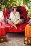 Happy woman ready to trip. Summer vacation and travel concept Royalty Free Stock Photos
