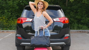 Happy woman ready to trip. Summer vacation and travel concept stock video