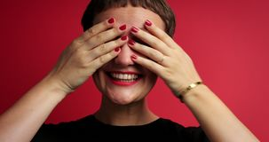 Happy woman recived a gift. Closeup of woman`s faca showing emotions stock footage