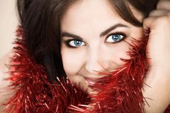 Happy woman in red stock image