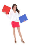 Happy woman with red and blue folders Royalty Free Stock Images