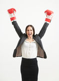 Happy woman in red boxing gloves Royalty Free Stock Photography