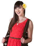Happy Woman in Red Dress stock photos