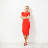 Happy woman in red dress Royalty Free Stock Photo