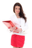 Happy woman with red folder Royalty Free Stock Photography