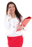 Happy woman with red folder and telephone Stock Image