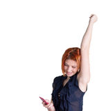 Happy woman with red hair and a telephone Royalty Free Stock Photography