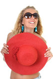 Happy woman with red hat and sunglasses Royalty Free Stock Photography