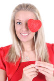Happy woman with red heart Royalty Free Stock Photo