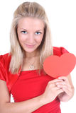 Happy woman with red heart card Stock Image