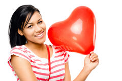 Happy Woman Red Heart Shaped Balloon Romance Royalty Free Stock Image