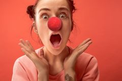 Happy woman on red nose day. royalty free stock images