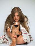 Happy woman red wine Royalty Free Stock Photo