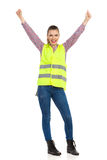 Happy Woman In Reflective Vest Stock Images
