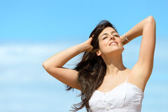 Happy woman relax on summer stock photography