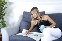 Happy woman  relaxing Royalty Free Stock Photography