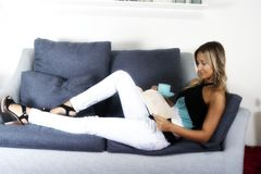 Happy woman  relaxing Stock Images