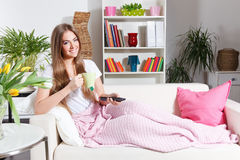 Happy woman relaxing at home Royalty Free Stock Photo
