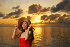 Happy woman relaxing on tropical beach Royalty Free Stock Photos