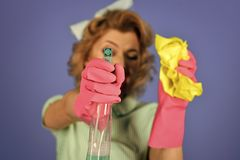 Happy woman. Retro Sexy Housewife. Sexy housewife in a fifties retro style, cleaning her house Stock Photos
