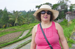 Happy woman in rice terrace  Bali,Indonesia Royalty Free Stock Photography
